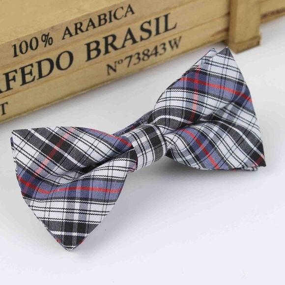 Red /& White Plaid Bow Tie Blue Boys Brown